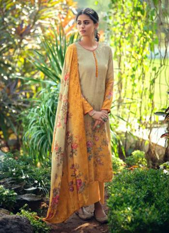 Yellow Jacquard Silk Festival Wear Embroidery Work Palazzo Suit