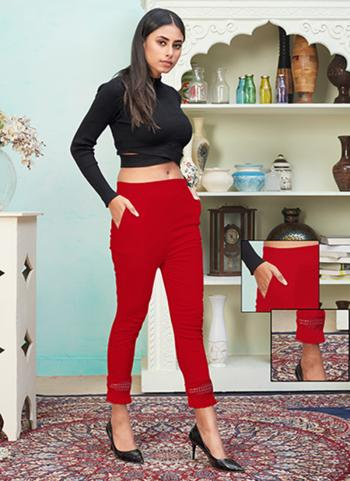 Red Rayon Casual Wear Plain Pencil Pant