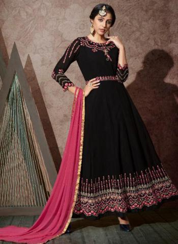 Black Georgette Wedding Wear Embroidery Work Anarkali Suit