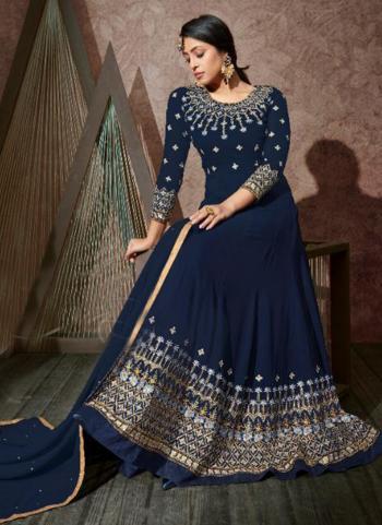 Navy Blue Georgette Wedding Wear Embroidery Work Anarkali Suit