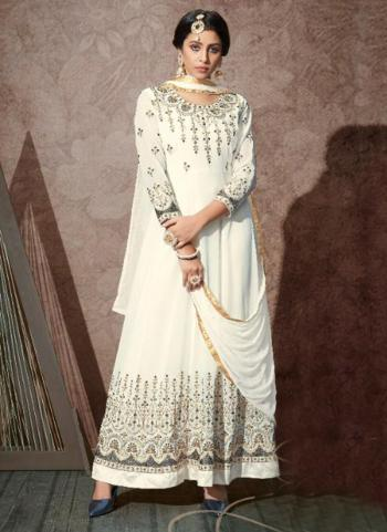 Off White Georgette Wedding Wear Embroidery Work Anarkali Suit