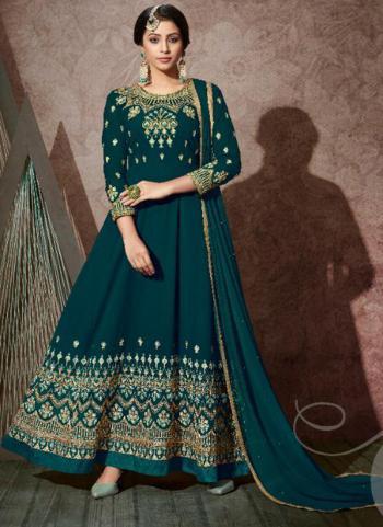 Rama Blue Georgette Wedding Wear Embroidery Work Anarkali Suit