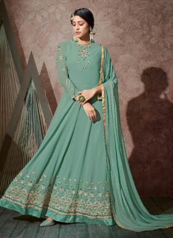Turqiose Georgette Wedding Wear Embroidery Work Anarkali Suit