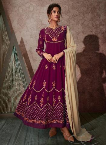 Wine Georgette Wedding Wear Embroidery Work Anarkali Suit