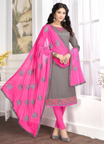 Grey Cotton Regular Wear Butti Work Churidar Style