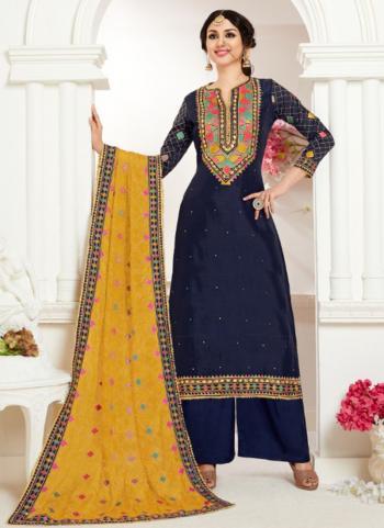 Navy Blue Georgette Satin Festival Wear Khatli Work Plazzo Suit
