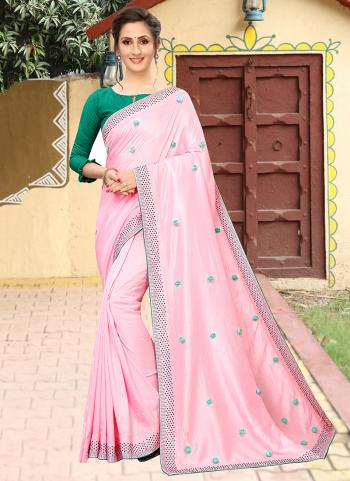 Pink Silk Traditional Wear Embroidery Work Saree
