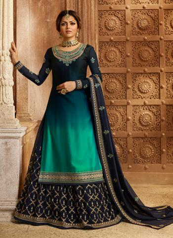 Navy Blue Georgette Satin Wedding Wear Embroidery Work Lehenga Suit