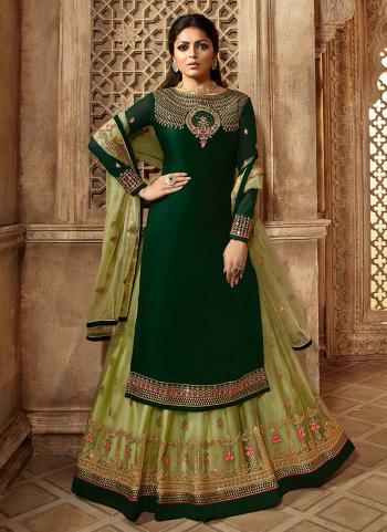 Dark Green Georgette Satin Reception Wear Embroidery Work Lehenga Suit