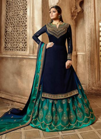 Navy Blue Georgette Satin Reception Wear Embroidery Work Lehenga Suit