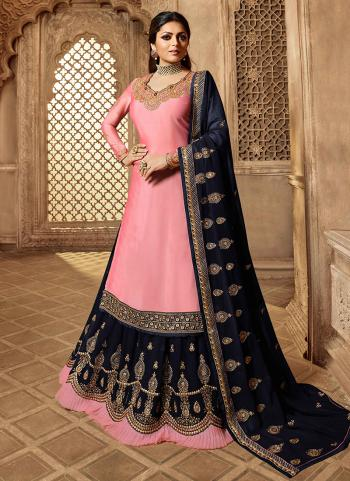 Pink Satin Reception Wear Embroidery Work Lehenga Suit