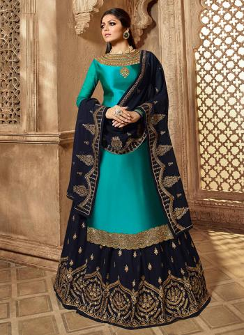 Sky Blue Georgette Satin Reception Wear Embroidery Work Lehenga Suit