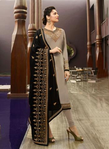 Grey Georgette Satin Party Wear Embroidery Work Churidar Suit