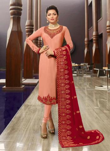 Peach Georgette Satin Party Wear Embroidery Work Churidar Suit