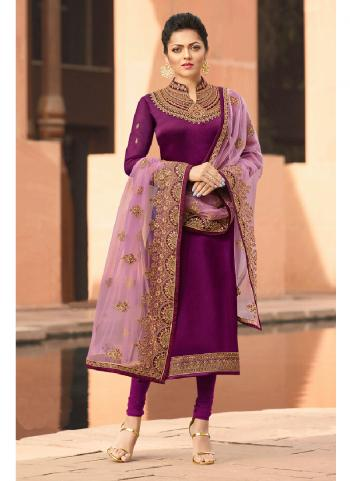 Purple Georgette Satin Party Wear Embroidery Work Churidar Suit