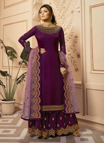 Purple Georgette Satin Wedding Wear Embroidery Work Palazzo Suit