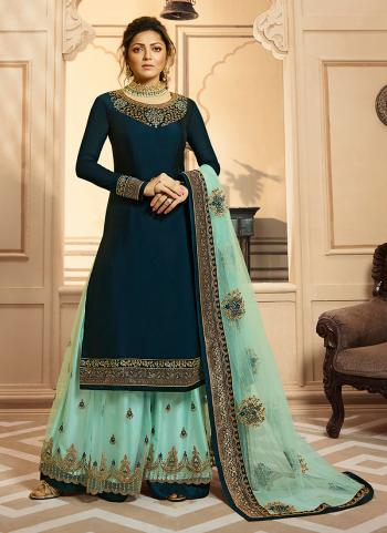 Rama Georgette Satin Wedding Wear Embroidery Work Palazzo Suit