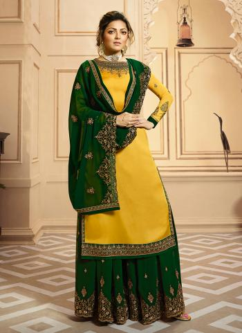 Yellow And Green Georgette Satin Wedding Wear Embroidery Work Palazzo Suit