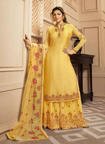 Light Yellow Georgette Satin Wedding Wear Embroidery Work Palazzo Suit