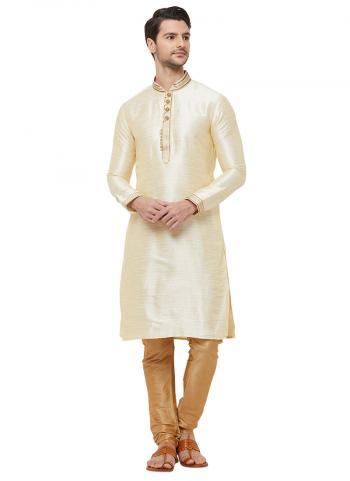 Cream Silk Traditional Wear Lace Work Kurta Pajama
