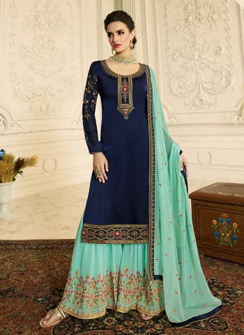Navy Blue Georgette Satin Party Wear Embroidery Work Palazzo Suit