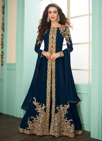 Blue Georgette Party Wear Embroidery Work Salwar Suit