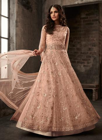 Peach Net Reception Wear Embroidery Work Palazzo Suit