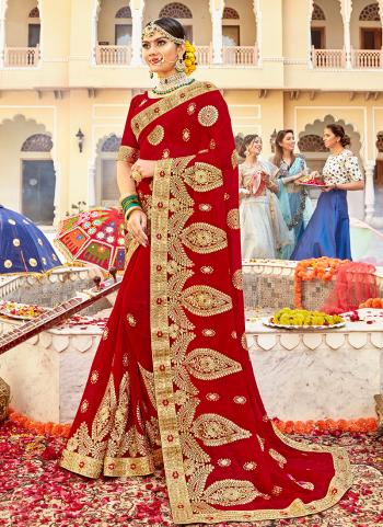 Red Georgette Wedding Wear Heavy Embroidery Work Saree