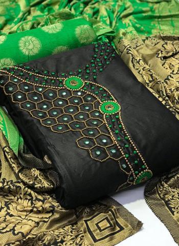 Green Cotton Silk Daily Wear Mirror Work Salwar Suit