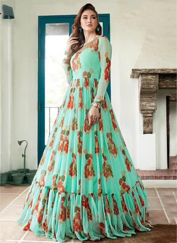 Pista Green Georgette Party Wear Printed Gown