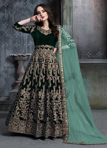 Green Velvet Reception Wear Embroidery Work Anarkali Suit