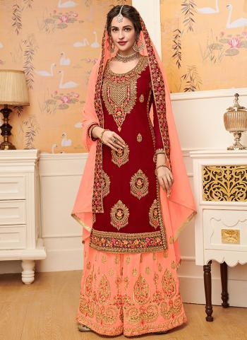 Red Georgette Traditional Wear Embroidery Work Palazzo Suit