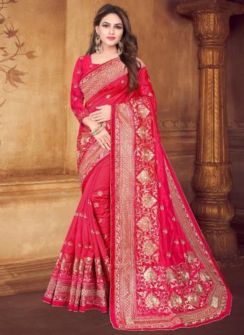 Pink Silk Wedding Wear Zari Work Saree