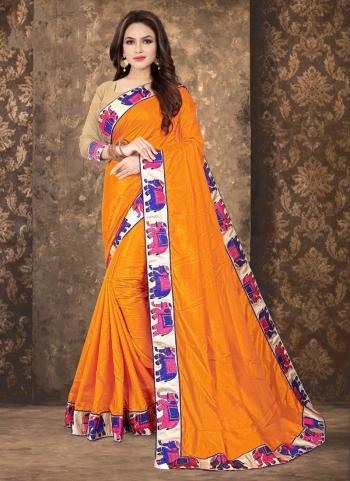 Orange Silk Festival Wear Lace Work Saree