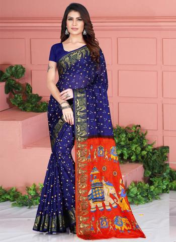 Blue Art Silk Traditional Wear Weaving Saree
