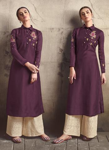 Wine Silk Party Wear Embroidery Work Kurti With Palazzo
