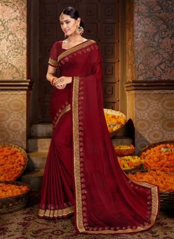 Maroon Chiffon Casual Wear Diamond Work Saree