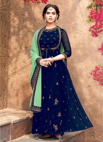 Navy Blue Georgette Festival Wear Embroidery Work Anarkali Suit