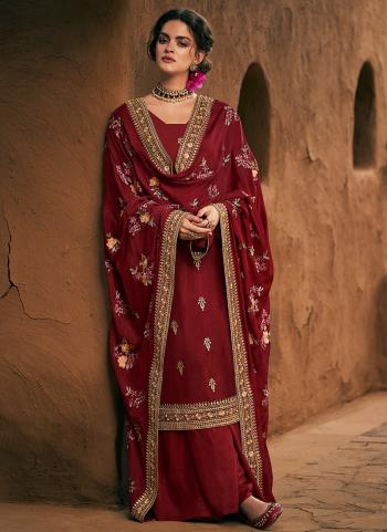 Maroon Silk Wedding Wear Embroidery Work Palazzo Suit