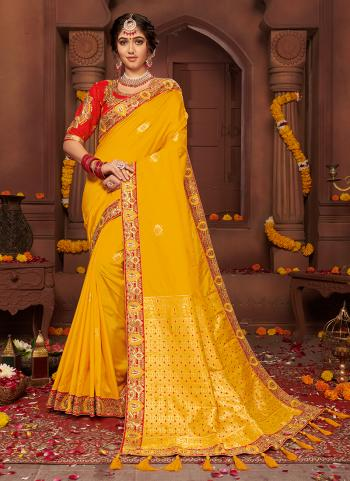 Yellow Silk Reception Wear Weaving Saree