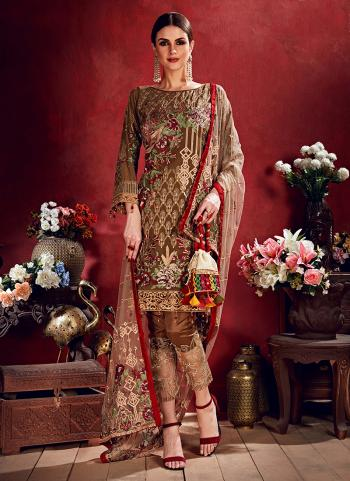 Brown Georgette Reception Wear Sequins Work Pakistani Suit
