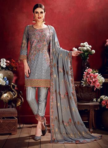Grey Georgette Reception Wear Thread Work Pakistani Suit
