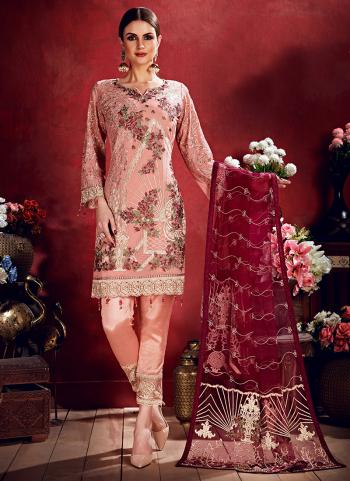 Pink Georgette Reception Wear Sequins Work Pakistani Suit