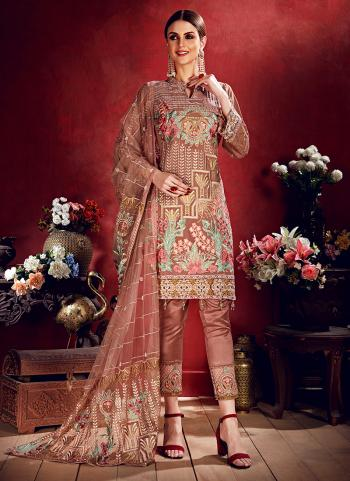 Rose Gold Georgette Reception Wear Thread Work Pakistani Suit