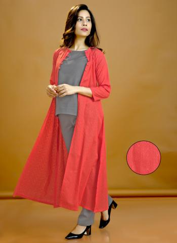 Grey Cotton Casual Wear Plain Top Bottom With Shrug