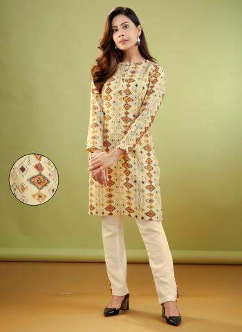 Cream Pashmina Daily Wear Digital Print Kurti With Bottom