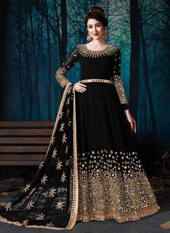 Black Georgette Wedding Wear Mirror Work Anarkali Suit