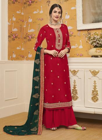 Red Viscose Festival Wear Embroidery Work Palazzo Suit