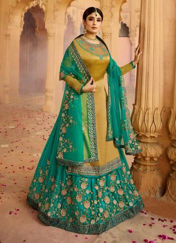 Green Georgette Satin Wedding Wear Embroidery Work Lehenga Suit