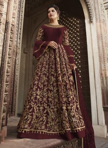 Maroon Net Wedding Wear Embroidery Work Anarkali Suit